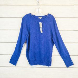 JM Collection Pullover Sweater Blue Cozy XL New